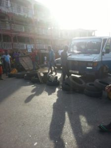 Ebola rioting youths at Portee Freetown