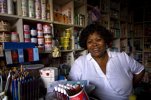 Woman in small shop in Ghana
