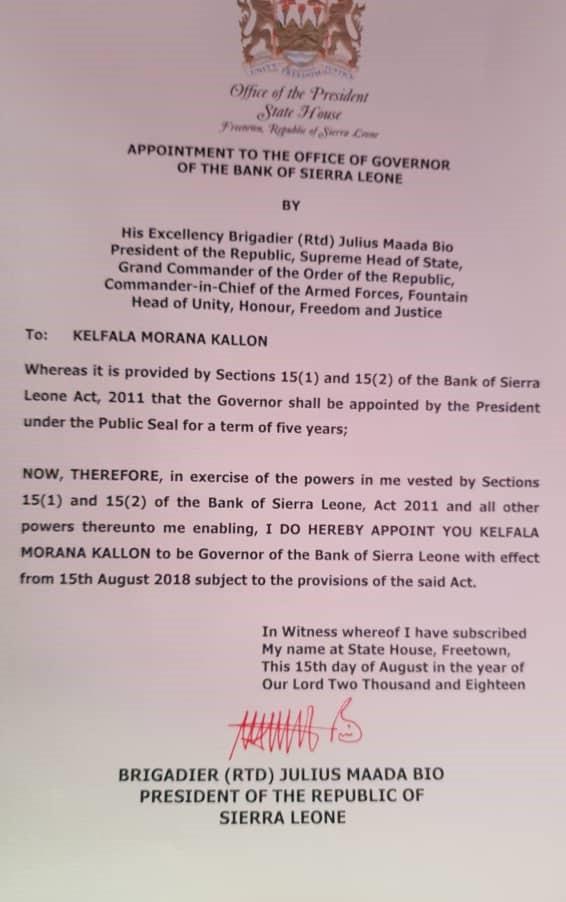 kelfala kallon appointed bank governor